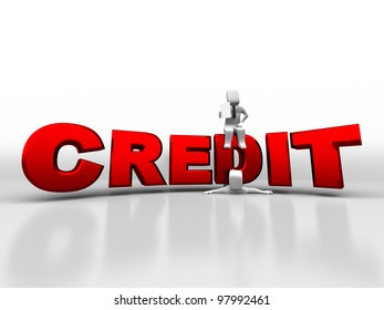 3d person sitting on credit pushes the debtor
