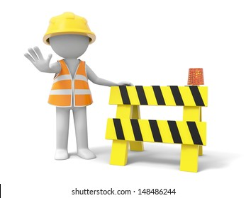 A 3d person stopping the people with a roadblock
