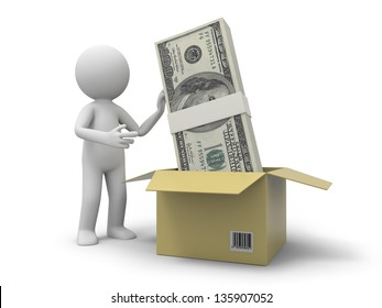 A 3d person taking a pile of money from a box