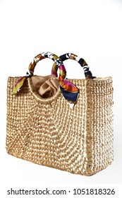3D photo image of fashion natural square wicker bag or woven bag isolated on white background