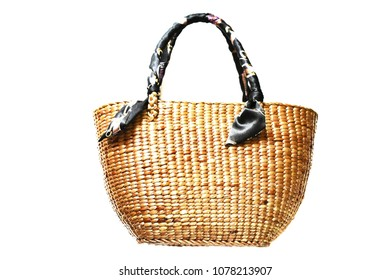 3D photo image of fashion natural sphere handle wicker bag or woven bag isolated on white background