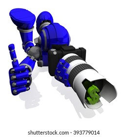 3D Photographer Robot Blue Color With DSLR Camera And  thumbs up, Money Symbol