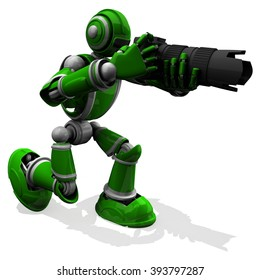 3D Photographer Robot Green Color Pose With DSLR Camera, Photographer, Ready to Take A Photo, Black Zoom Lens