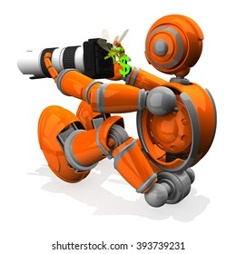 3D Photographer Robot Orange Color With DSLR Camera and Dragonfly Holding A Money Symbol
