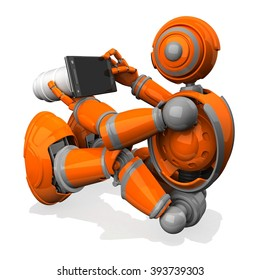 3D Photographer Robot  Orange Color With Flat Camera