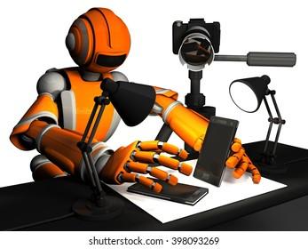 3D Photographer Robot, Orange Color, Setting Up Product, Phone