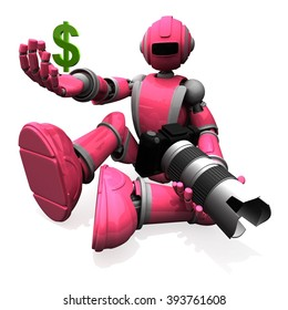 3D Photographer Robot Pink Color With DSLR Camera and Holding A Money Symbol