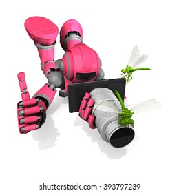 3D Photographer Robot Pink Color Pose With Flat Camera And Dragonfly, Thumbs Up, Macro Photography