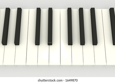 3D piano keyboard (keys) above view on white
