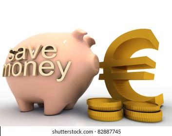 3d piggy bank concept
