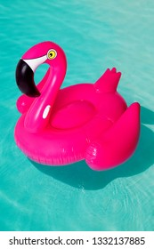 3d pink flamingo, tropical bird shape inflatable swimming pool ring, tube, float. Summer vacation holiday rubber object, traveling, beach ocean. Illustration isolated blue background