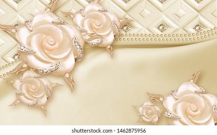 3d pink flowers luxury wallpaper