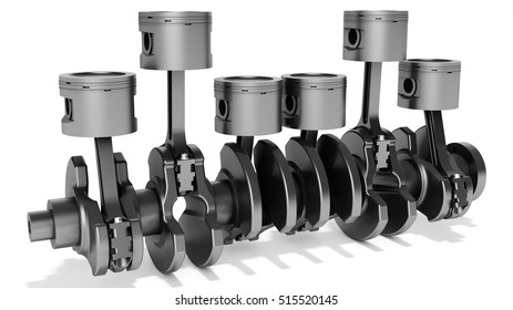 3d pistons and crankshaft, automotive engine on white background