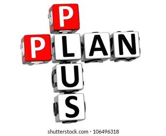 3D Plan Plus Crossword on white background
