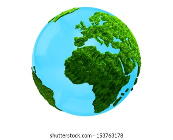 3D planet Earth focusing on Africa and Europe - isolated over white