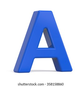 3d plastic blue letter A isolated on white background