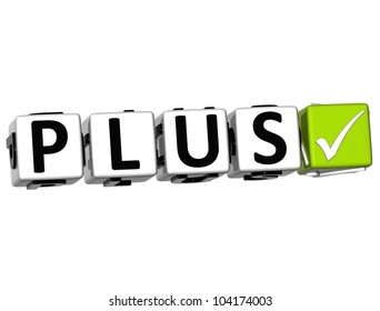 3D Plus Button Click Here Block Text over white background