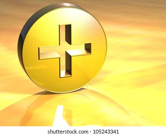 3D Plus Gold Sign over yellow background
