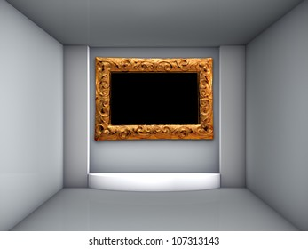 3d podium and ornate frame for exhibit in the grey interior