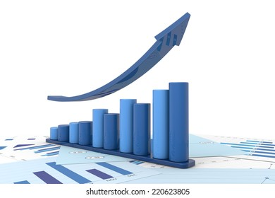 3d positive bar Graphs of financial analysis