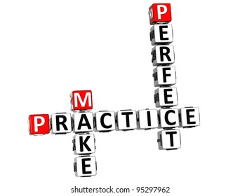3D Practice Make Perfect Crossword on white background