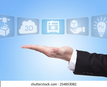 3D print concept , business man hand palm holding all kinds of icon about 3D print with blue background