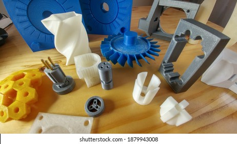 3d print, mechanical components in 3d printing, in thermoplastic plastic polymer, industrial  design.
