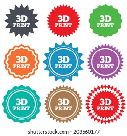 3D Print sign icon. 3d Printing symbol. Additive manufacturing. Stars stickers. Certificate emblem labels.