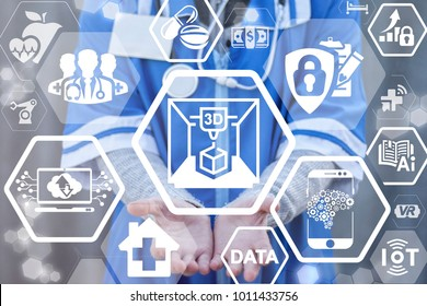 3D Printed Computing Automatic Machine Medical Innovative Technologies. Doctor using virtual interface offers 3d printer icon. Transplantation Surgery Health Care concept.