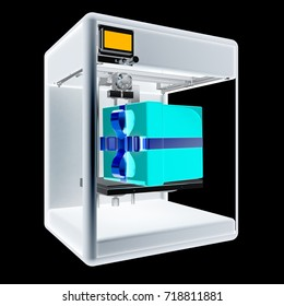 3d printer - gift. Modern technologies. Creating products of the innovative materials. 3d illustration. On a black background