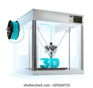 3D printer machine printing a 3D text - rapid prototyping 3D illustration