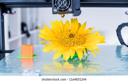 3d printer mechanism working during the processes. Modern 3D printing.