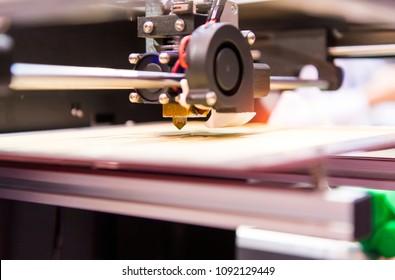 3D printer prints form figure close