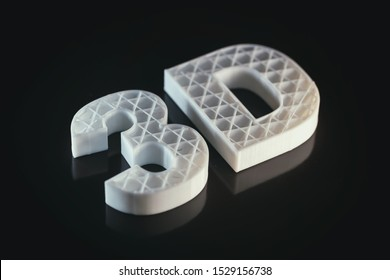 3D printing concept. 3D letters ABS white color against black background, Thermoplastic material from polylactic (pla) acid.