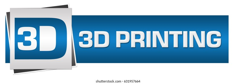 3D Printing Logotype Blue Grey Horizontal