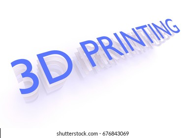 3D Printing, words in blue letters on white background, 3d rendering