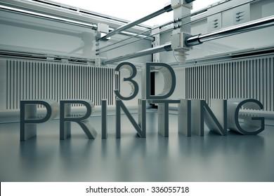 3D Printinted Three- Dimensional Word.