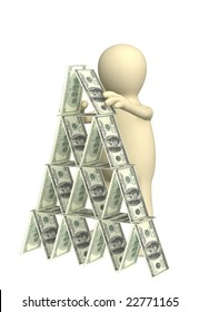 3d puppet, making a pyramid from money. Objects over white
