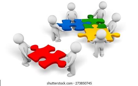 3D. Puzzle, People, Community.