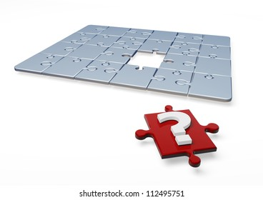 3D Puzzle with question mark in one piece