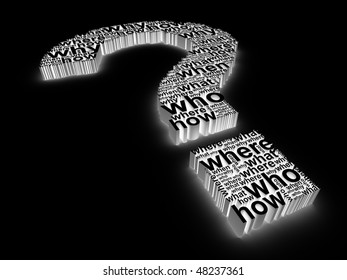 3d question mark made up of words on a black background