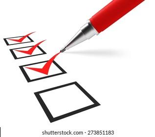3D. Questionnaire, Form, Check Mark.