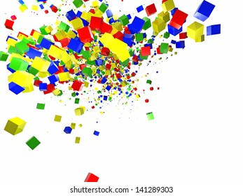 3d random colored cubes on white background