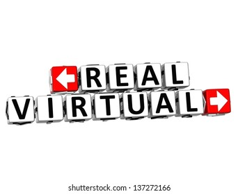 3D Real Virtual Button Click Here Block Text over white background