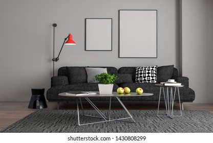 3D Realistic Mock up of living room Interior Sofa, table and chair