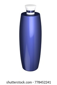 3D realistic render of blue cosmetic flacon, bottle or jar with lid. Empty template for design. Clipping path. Isolated on white background.