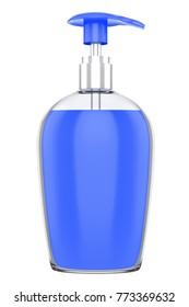3D realistic render of cosmetic bottle dispenser pump with round blue liquid filled container from closeup angle. Blue lid. 3D illustration isolated on white background. Clipping path.