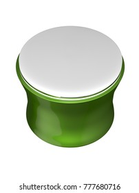 3D realistic render of green glossy cosmetic jar with white lid for cream, butter, scrub, gel, powder, wax. Packaging mock up template. Isolated on white background. Clipping path.