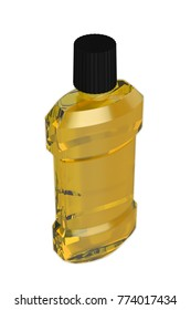 3D realistic render of orange bottle mouthwashes. Isolated on white background. Clipping path. Template for desing.