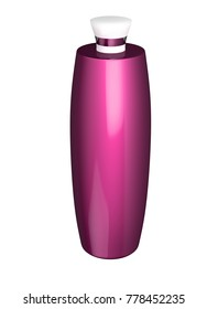 3D realistic render of pink cosmetic flacon, bottle or jar with lid. Empty template for design. Clipping path. Isolated on white background.